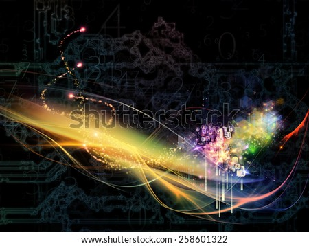 Waves of Technology series. Background composition of  lights, fractal and technological elements to complement your layouts on the subject of science, philosophy, metaphysics and modern technology - stock photo