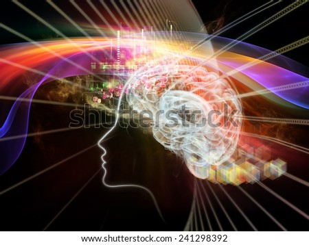Waves of Technology series. Creative arrangement of lights, fractal and technological elements to act as complimentary graphic for subject of science, philosophy, metaphysics and modern technology - stock photo
