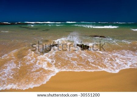 Waves of the Indian ocean breaking about coast
