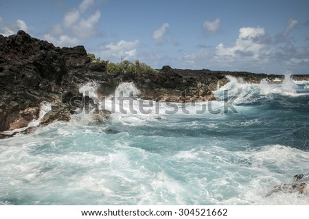 Waves of the Pacific Ocean, The Big Island, Hawaii - stock photo