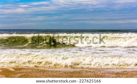 Waves on the Atlantic Ocean near Seignosse - France, Aquitaine - stock photo