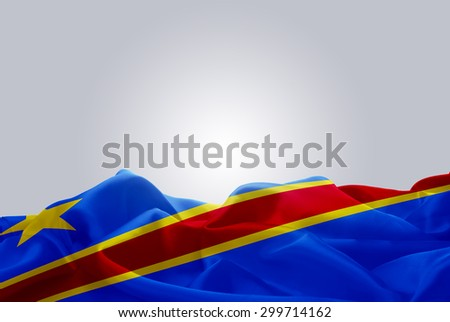 waving abstract fabric Democratic Republic of the Congo flag on Gray background - stock photo