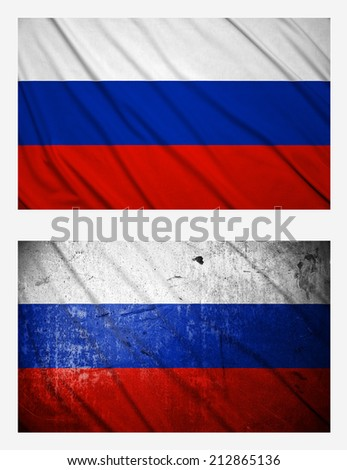 Waving and grunge flags of Russia - stock photo