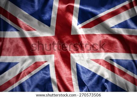 waving and shining british flag - stock photo