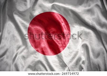 waving and shining japanese flag - stock photo