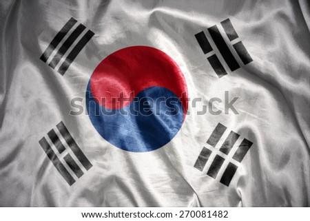 waving and shining south korea flag - stock photo