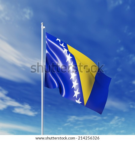 Waving  Bosnia and Herzegovina flag against cloudy sky. High resolution  render.