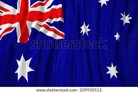 Waving close up australia Flag - stock photo