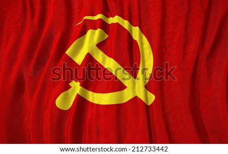 Waving close up communist Flag  - stock photo
