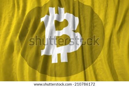 Waving close up Flag bitcoin symbol - stock photo