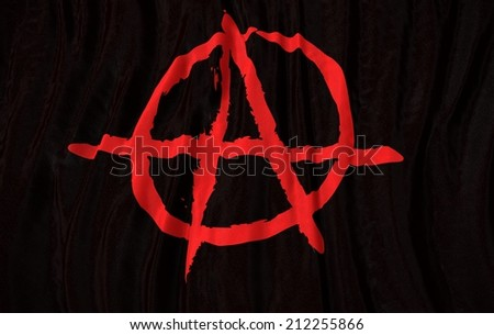 Waving close up icon anarchy Flag - stock photo