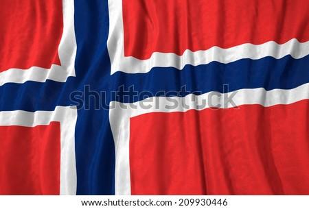 Waving close up norway Flag - stock photo