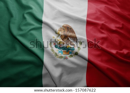 Waving colorful Mexican flag - stock photo