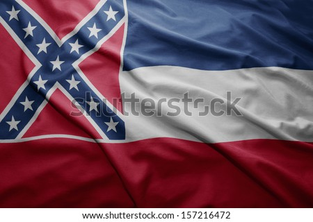 Waving colorful Mississippi flag - stock photo