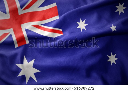 waving colorful national flag of australia.