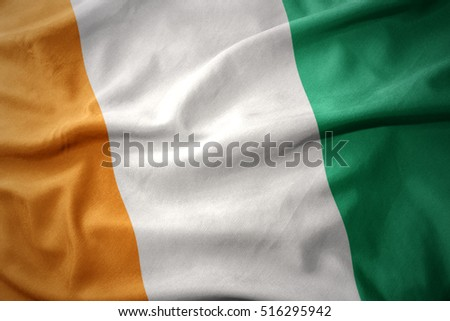 waving colorful national flag of cote d'ivoire.