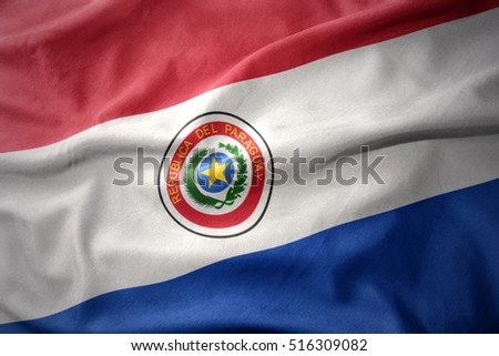 waving colorful national flag of paraguay.