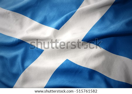 waving colorful national flag of scotland.