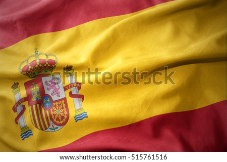 waving colorful national flag of spain.