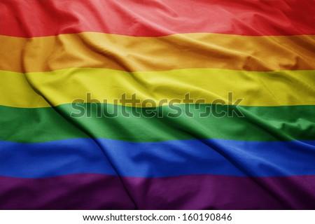 Waving colorful Rainbow flag - stock photo