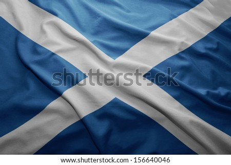 Waving colorful Scottish flag - stock photo