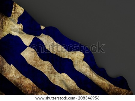 Waving dirty flag of greece with grunge texture, in corner of gray background  - stock photo