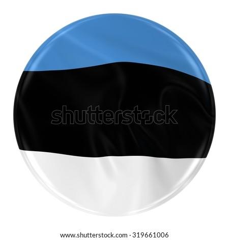 Waving Estonian Flag Badge - Button textured with the Flag of Estonia Isolated on White - stock photo