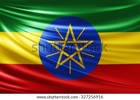 Waving Ethiopia  flag of silk