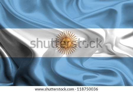 Waving Fabric Flag of Argentina - stock photo