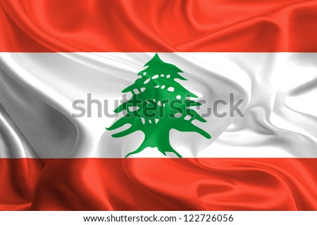 Waving Fabric Flag of Lebanon