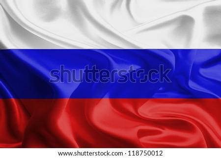 Waving Fabric Flag of Russia - stock photo