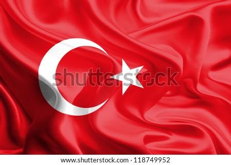 Waving Fabric Flag of Turkey - stock photo