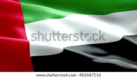 waving fabric texture of the flag with color of united arab emirates, uae real texture flag