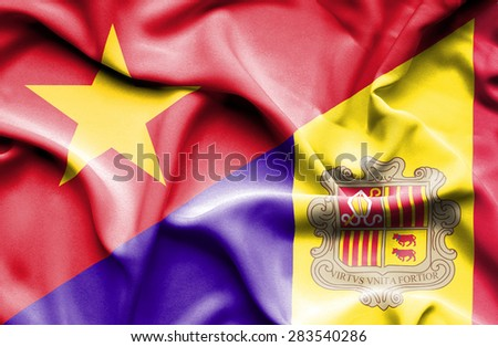 Waving flag of Andorra and Vietnam