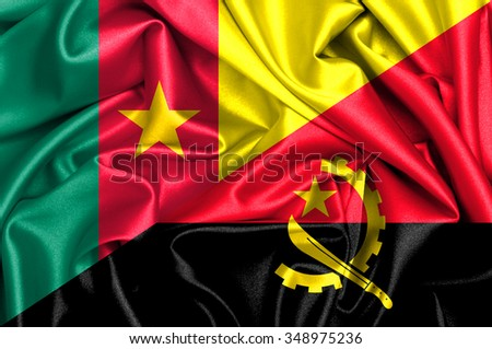 Waving flag of Angola and Cameroon