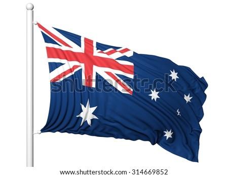 Waving flag of Australia on flagpole, isolated on white background. - stock photo