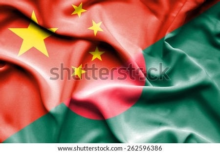 Waving flag of Bangladesh and China  - stock photo