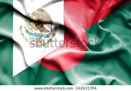 Waving flag of Bangladesh and Mexico - stock photo