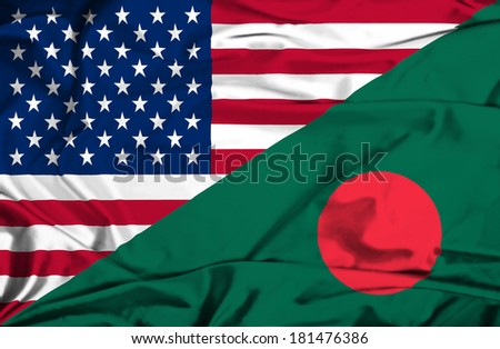 Waving flag of Bangladesh and USA - stock photo