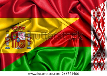 Waving flag of Belarus and Spain - stock photo