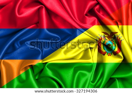 Waving flag of Bolivia and Armenia