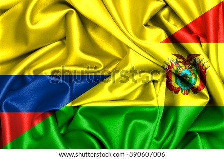 Waving flag of Bolivia and Colombia