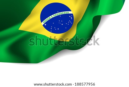 Waving flag of Brazil, South America.  illustration - stock photo