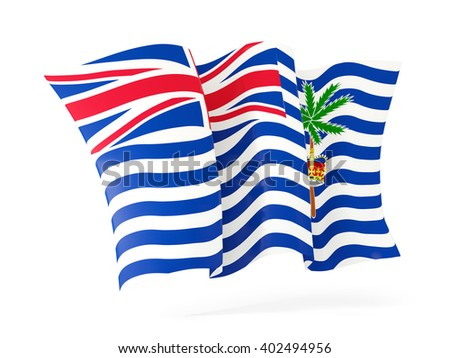 Waving flag of british indian ocean territory isolated on white. 3D illustration