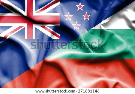 Waving flag of Bulgaria and New Zealand