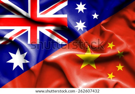 Waving flag of China and Australia - stock photo