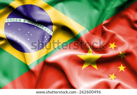 Waving flag of China and Brazil - stock photo