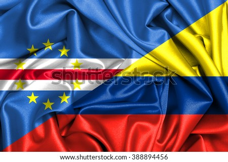 Waving flag of Colombia and Cape Verde
