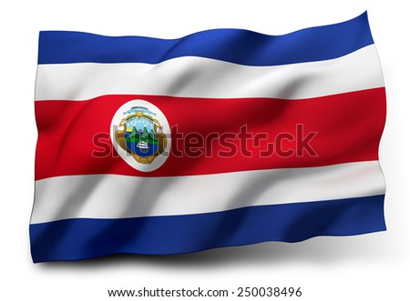 Waving flag of Costa Rica isolated on white background - stock photo