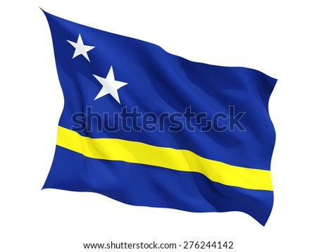 Waving flag of curacao isolated on white - stock photo
